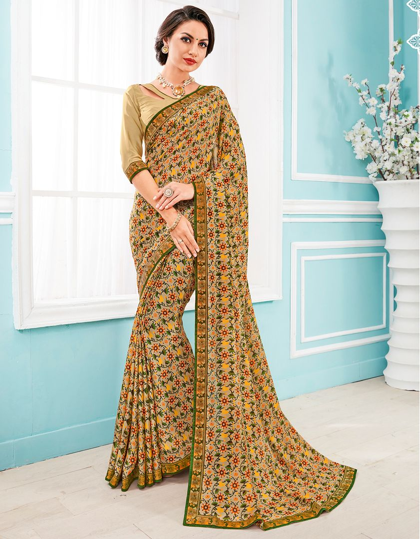 Beige Color Crepe Silk Party & Function Wear Sarees : Manohara Collection  NYF-2402 - YellowFashion.in