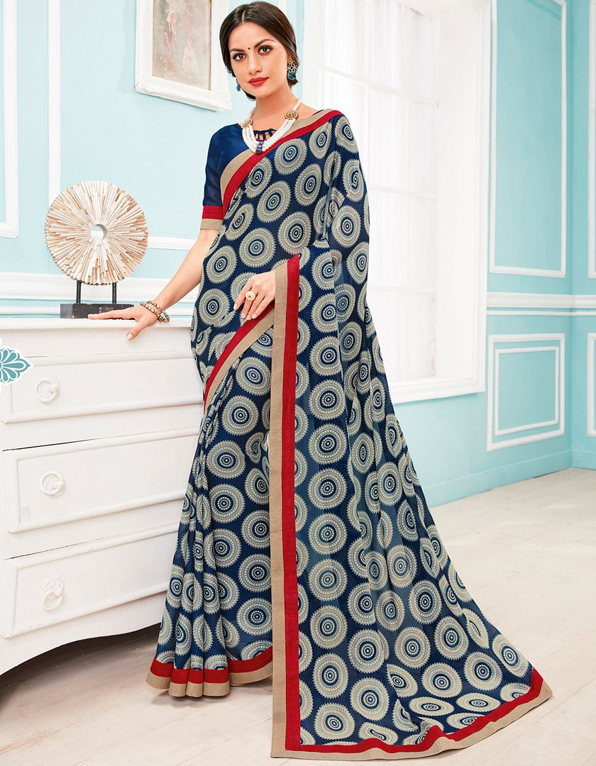 Blue Color Georgette Party & Function Wear Sarees : Manohara Collection  NYF-2403 - YellowFashion.in