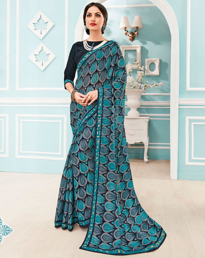 Blue & Firozi Color Chiffon Party & Function Wear Sarees : Manohara Collection  NYF-2404 - YellowFashion.in