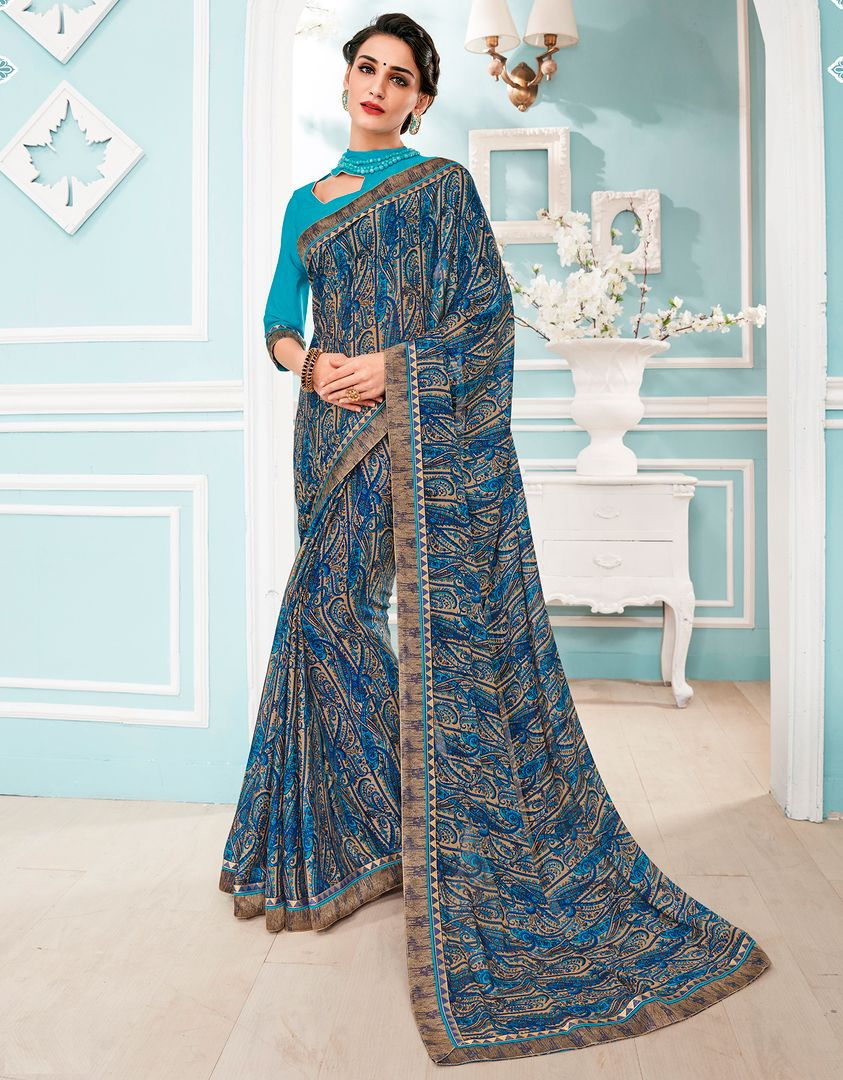 Blue Color Georgette Party & Function Wear Sarees : Manohara Collection  NYF-2407 - YellowFashion.in