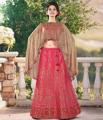 Reddish Pink Color Banarasi Silk Designer Indo-Western Lehenga For Wedding Function : Nakashi Collection  YF-58518