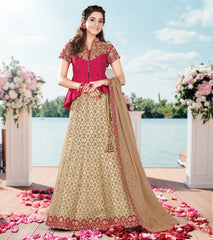 Light Golden Color Raw Silk Designer Lehenga For Wedding Function : Nakashi Collection  YF-58520