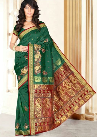 Green & Red Color Art Silk Casual Wear Sarees : Dhir Collection  YF-31541