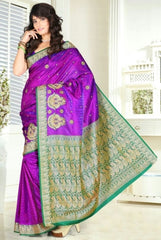 Green & Purple Color Art Silk Casual Wear Sarees : Dhir Collection  YF-31542