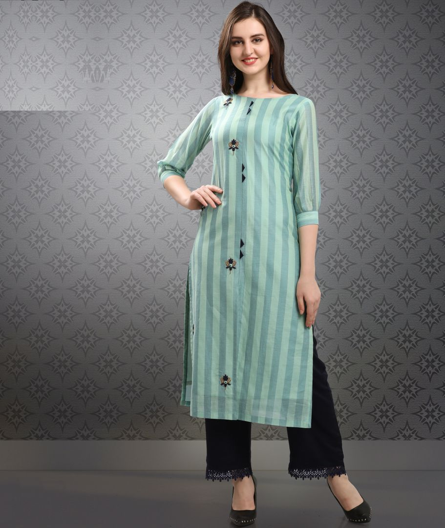 Shades Of Sea Green Color Resham silk Readymade Kurti With Bottom : Monisha Collection NYF-3417 - YellowFashion.in