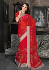 Shades Of Red Color Georgette Casual Sarees : Rahi Collection  YF-24140