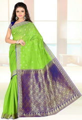 Parrot Green & Purple Color Art Silk Casual Wear Sarees : Dhir Collection  YF-31543
