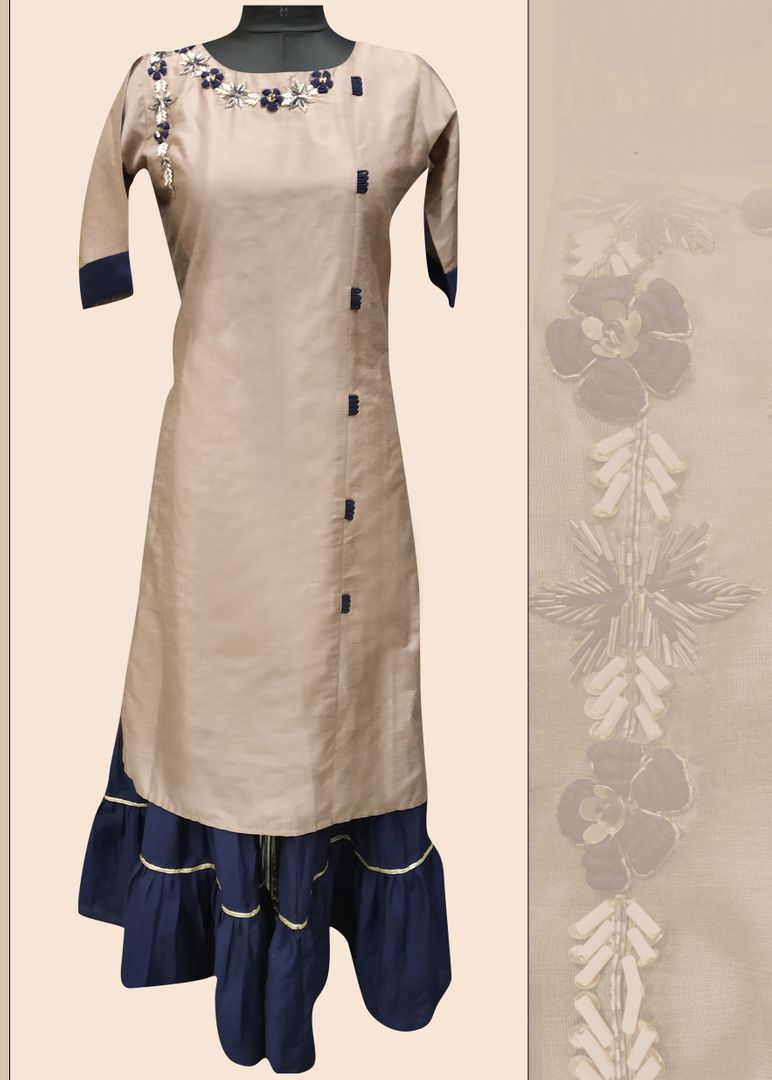 Beige Color Silk Readymade Kurti With Bottom : Monisha Collection NYF-3421 - YellowFashion.in