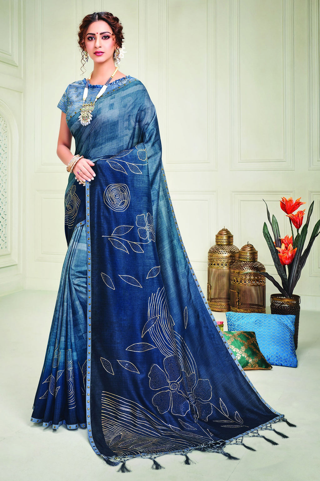 Blue Color Tusser Silk Splendid Designer Sarees NYF-8688