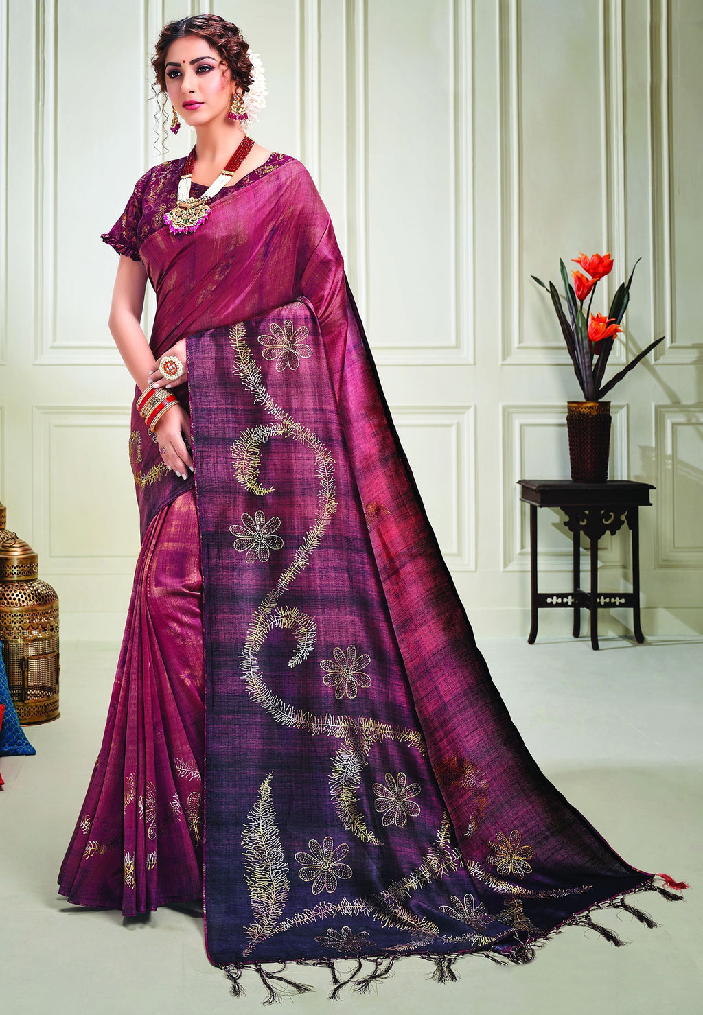 Purple Color Tusser Silk Splendid Designer Sarees NYF-8689