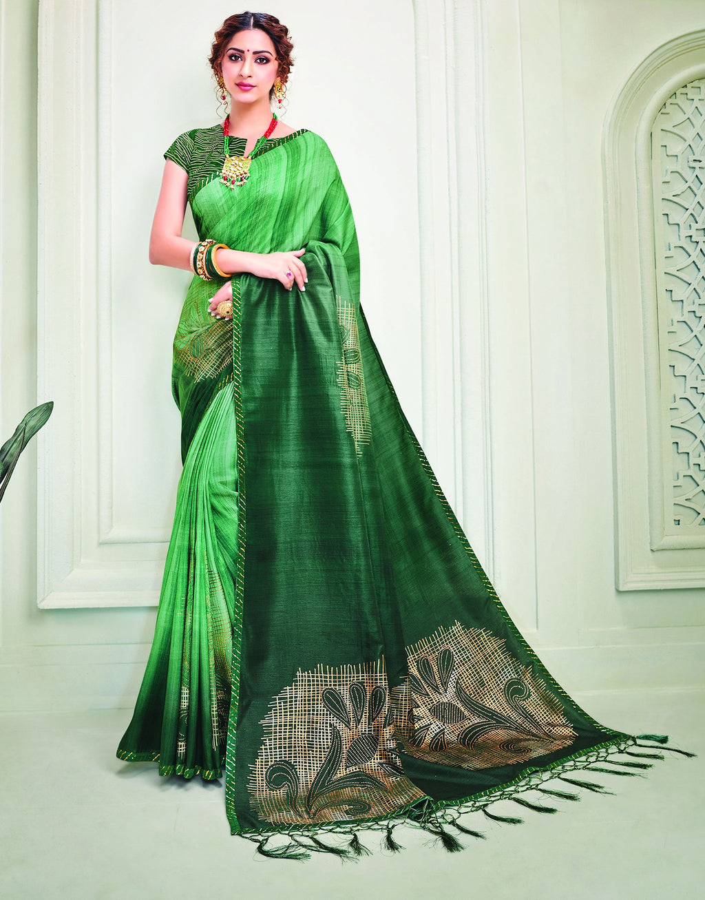 Green Color Tusser Silk Splendid Designer Sarees NYF-8690