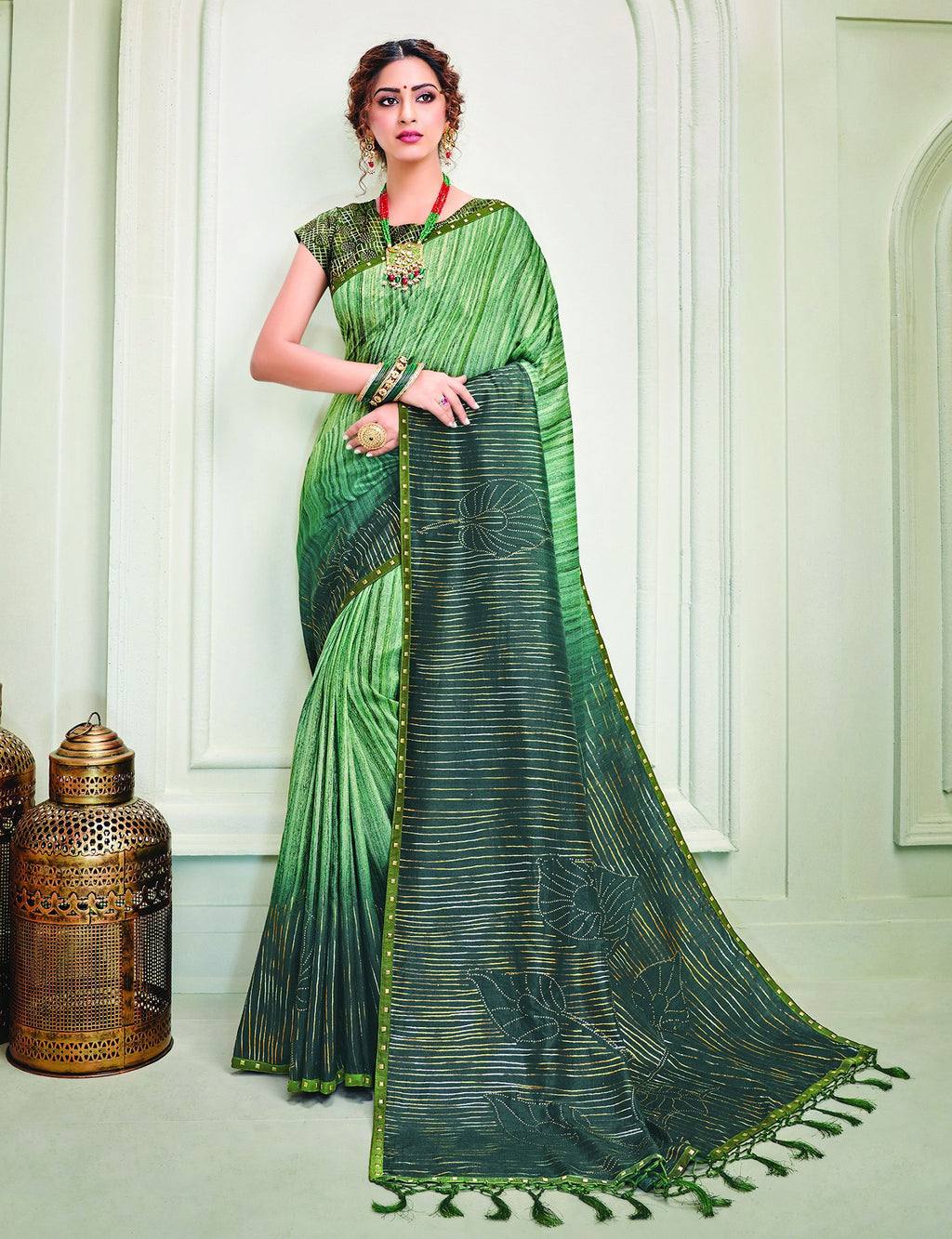 Green Color Tusser Silk Splendid Designer Sarees NYF-8692
