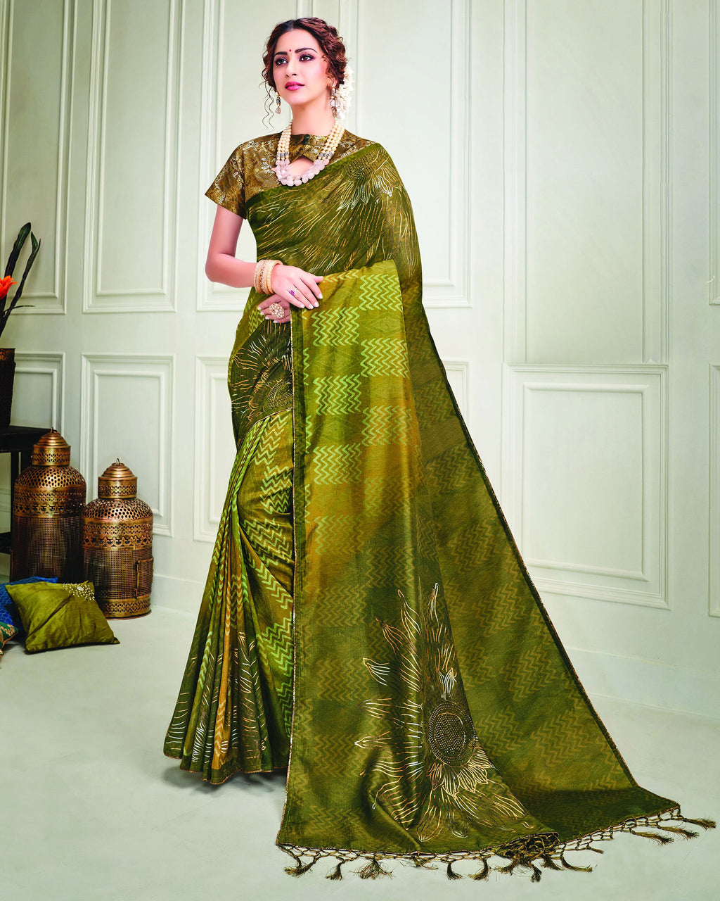 Green Color Tusser Silk Splendid Designer Sarees NYF-8693