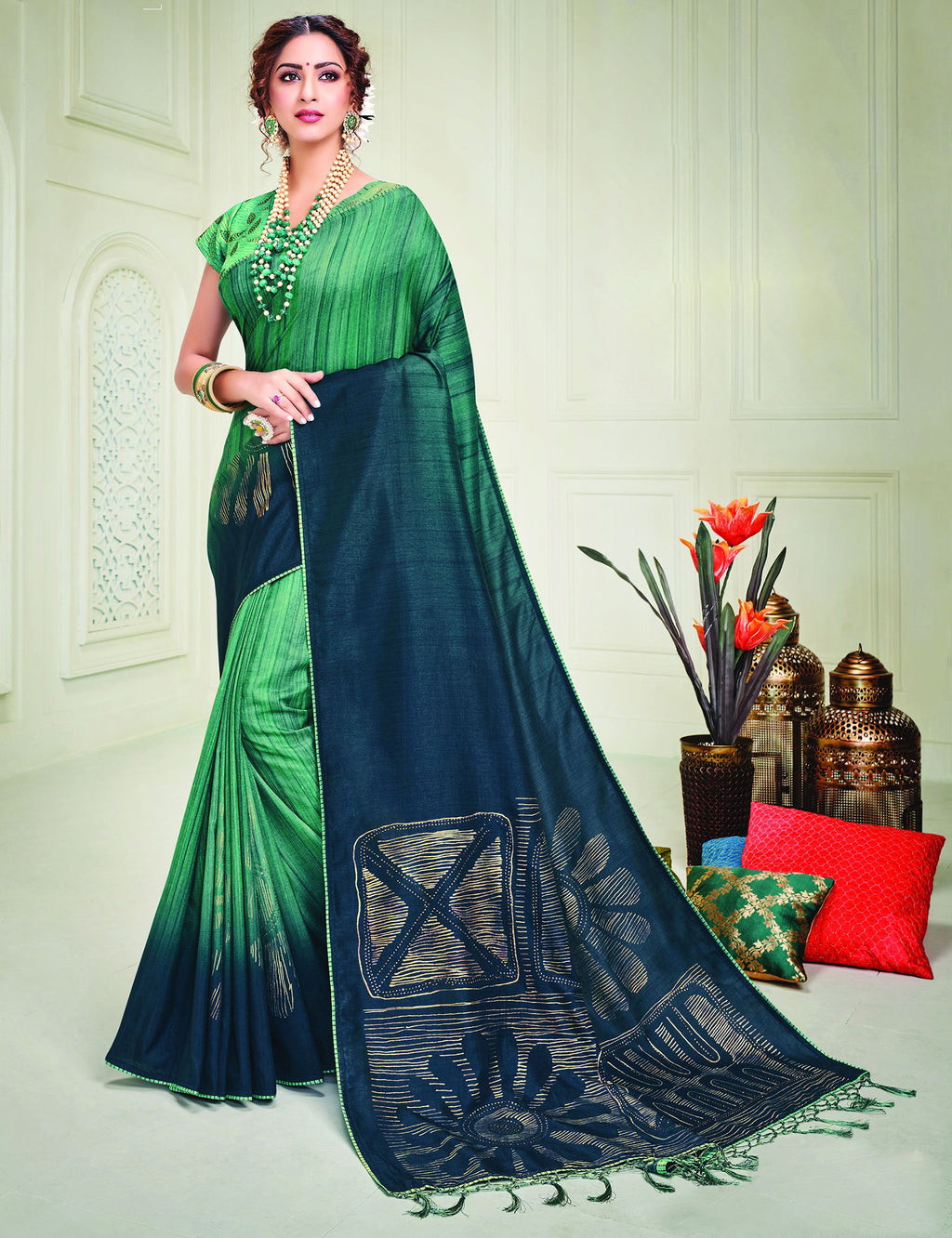 Green & Blue Color Tusser Silk Splendid Designer Sarees NYF-8694