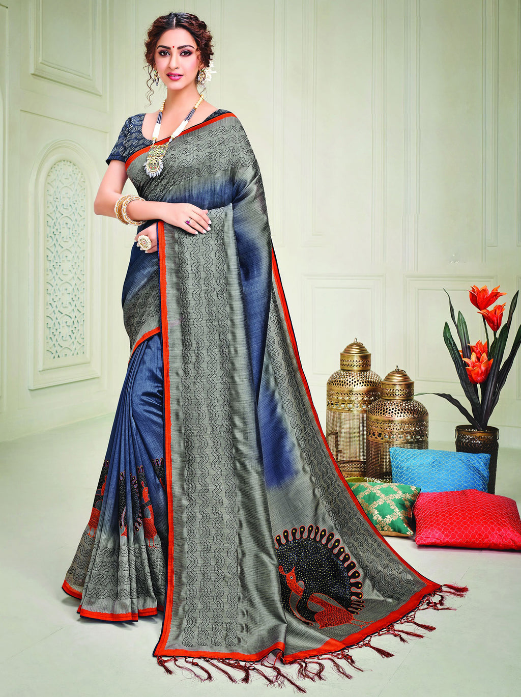 Grey & Blue Color Tusser Silk Splendid Designer Sarees NYF-8696