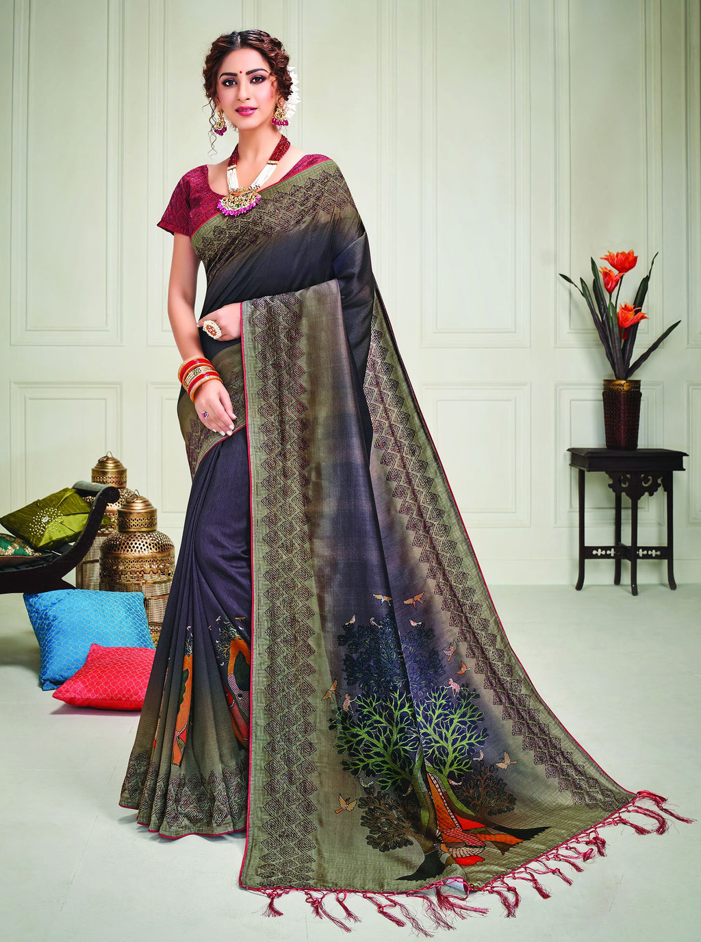 Blue Color Tusser Silk Splendid Designer Sarees NYF-8697