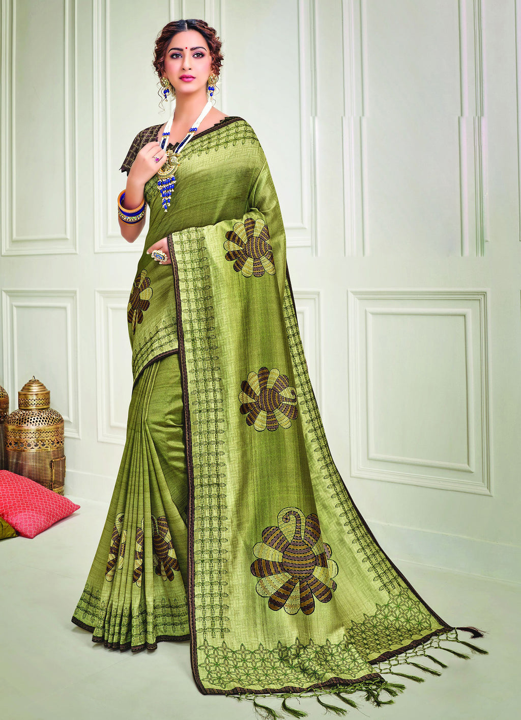 Green Color Tusser Silk Splendid Designer Sarees NYF-8699