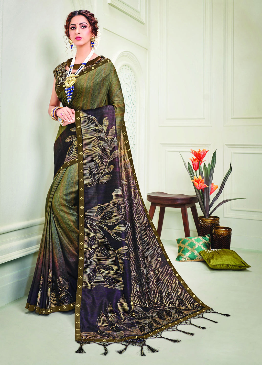 Green & Blue Color Tusser Silk Splendid Designer Sarees NYF-8700