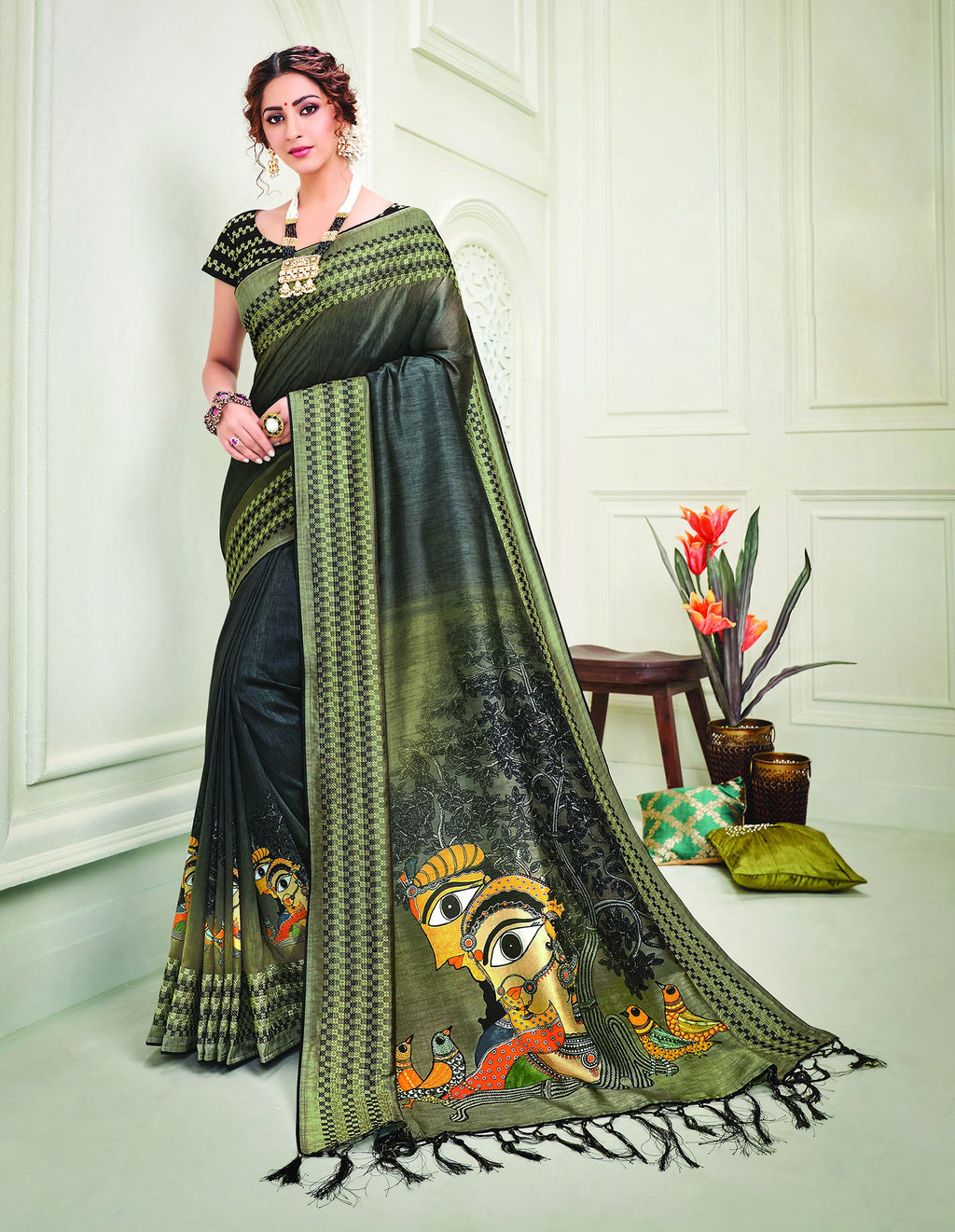 Blue Color Tusser Silk Splendid Designer Sarees NYF-8701