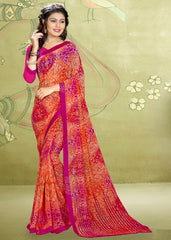 Orange & Pink Color Georgette Kitty Party Sarees : Rimshi Collection  YF-55502