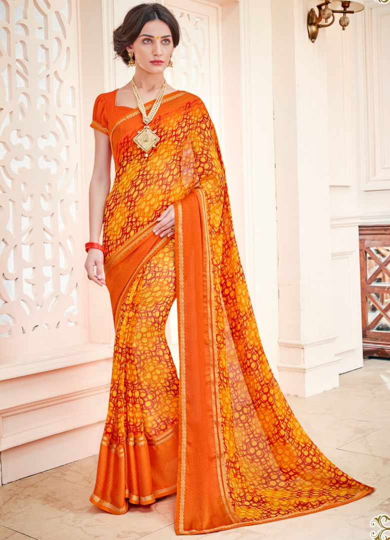 Orange & Yellow Color Georgette Designer Party Wear Sarees : Vaahila Collection  NYF-2804 - YellowFashion.in