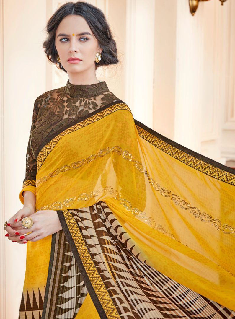 Yellow Color Chiffon Designer Party Wear Sarees : Vaahila Collection  NYF-2808 - YellowFashion.in
