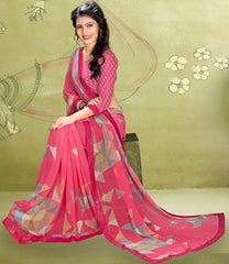 Pink Color Georgette Kitty Party Sarees : Rimshi Collection  YF-55504