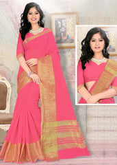 Pink Color Blended Cotton Festival & Party Wear Sarees : Nihika Collection  YF-49101