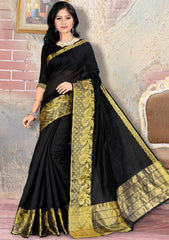 Black Color Blended Cotton Festival & Party Wear Sarees : Nihika Collection  YF-49102