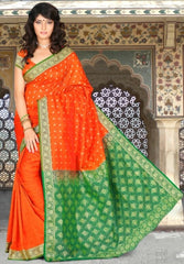 Green & Orange Color Art Silk Casual Wear Sarees : Dhir Collection  YF-31544