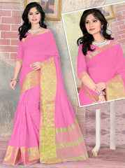 Pink Color Blended Cotton Festival & Party Wear Sarees : Nihika Collection  YF-49103