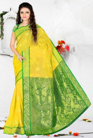 Yellow & Green Color Art Silk Casual Wear Sarees : Dhir Collection  YF-31545