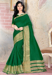 Grass Green Color Blended Cotton Festival & Party Wear Sarees : Nihika Collection  YF-49105