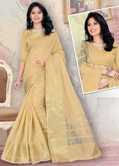 Light Coffee Color Blended Cotton Festival & Party Wear Sarees : Nihika Collection  YF-49106