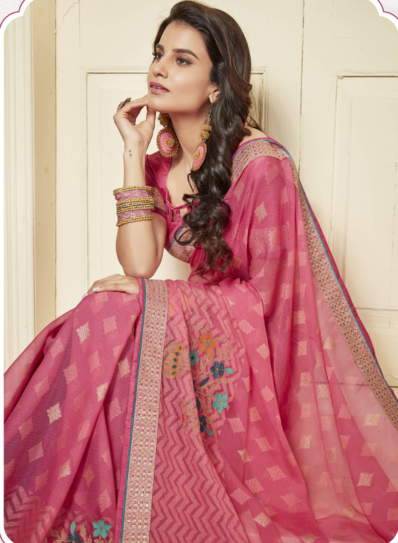 Pink Color Wrinkle Chiffon Brasso Designer Function Wear Sarees : Gaurika Collection  NYF-1357 - YellowFashion.in