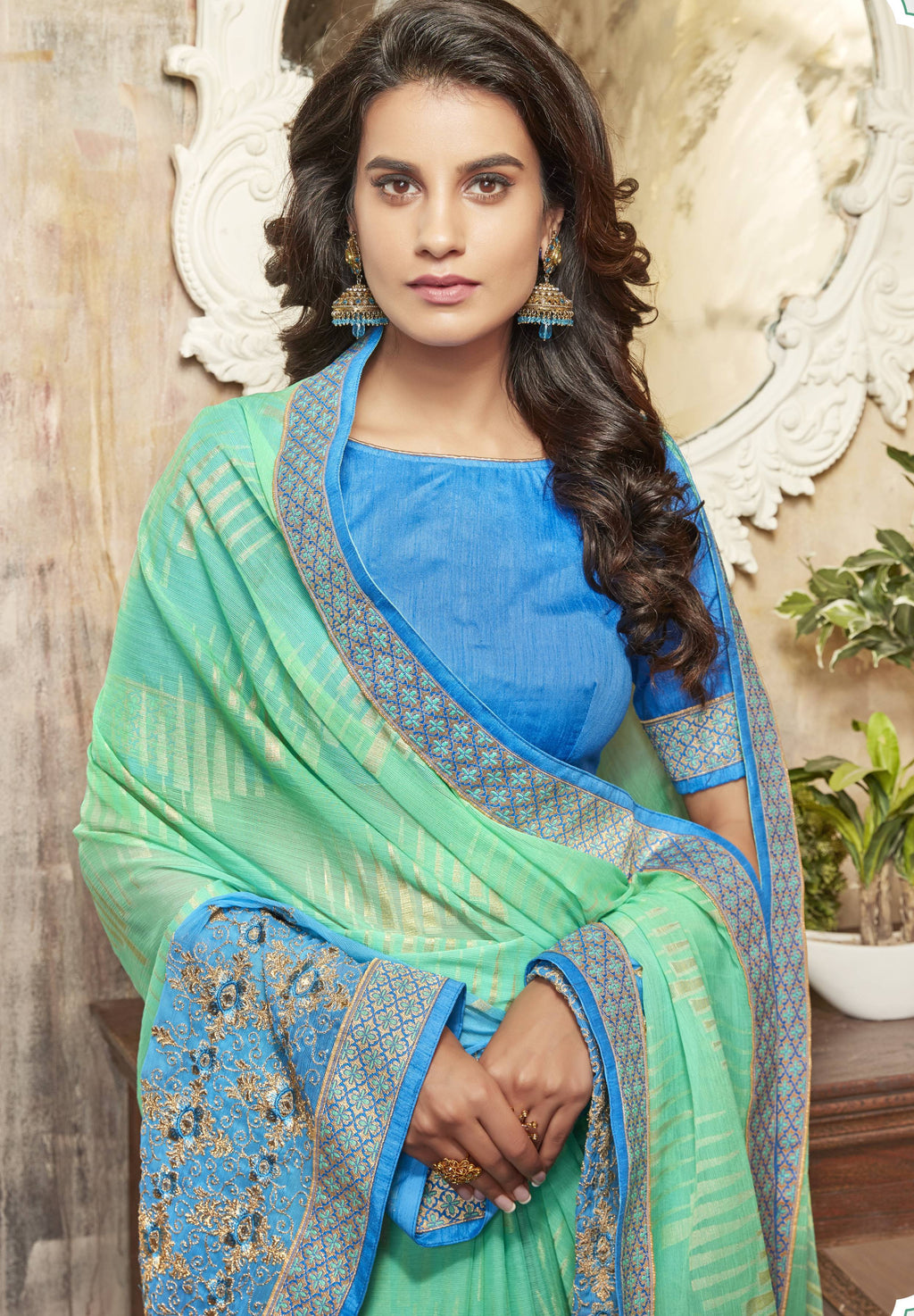 Green & Blue Color Wrinkle Chiffon Brasso Designer Function Wear Sarees : Gaurika Collection  NYF-1358 - YellowFashion.in
