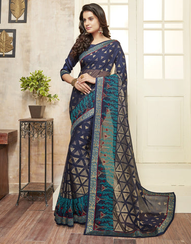 Blue Color Wrinkle Chiffon Brasso Designer Function Wear Sarees : Gaurika Collection  NYF-1359