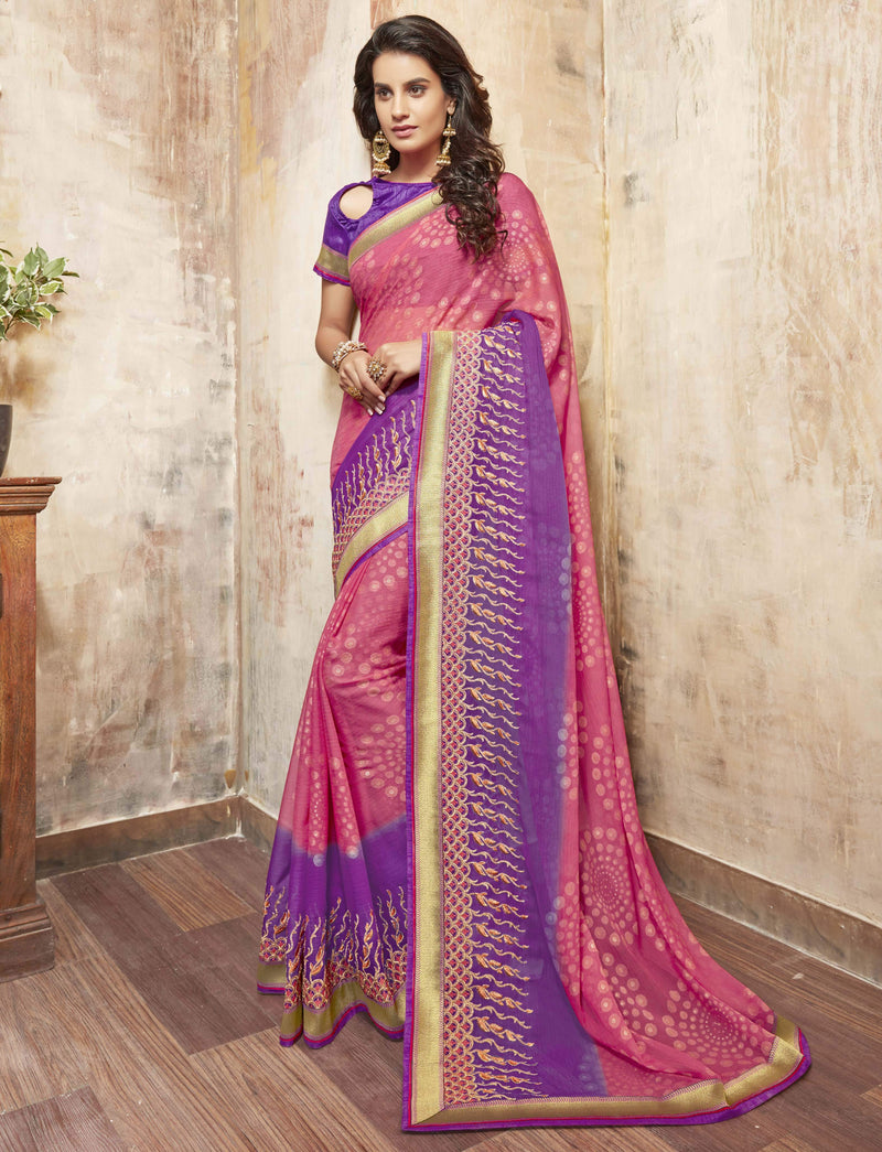 Pink And Purple Color Wrinkle Chiffon Brasso Designer Function Wear Sarees : Gaurika Collection  NYF-1361 - YellowFashion.in