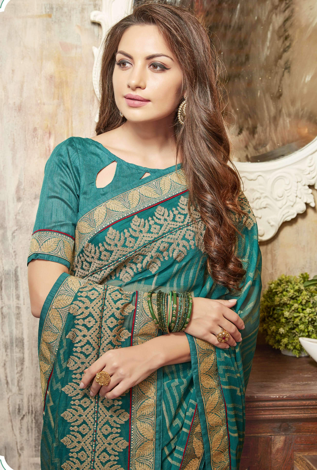 Green Color Wrinkle Chiffon Brasso Designer Function Wear Sarees : Gaurika Collection  NYF-1362 - YellowFashion.in