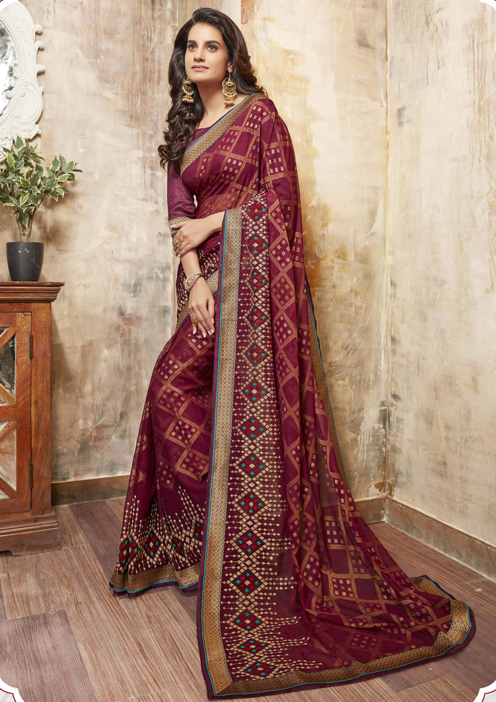 Maroon Color Wrinkle Chiffon Brasso Designer Function Wear Sarees : Gaurika Collection  NYF-1363 - YellowFashion.in