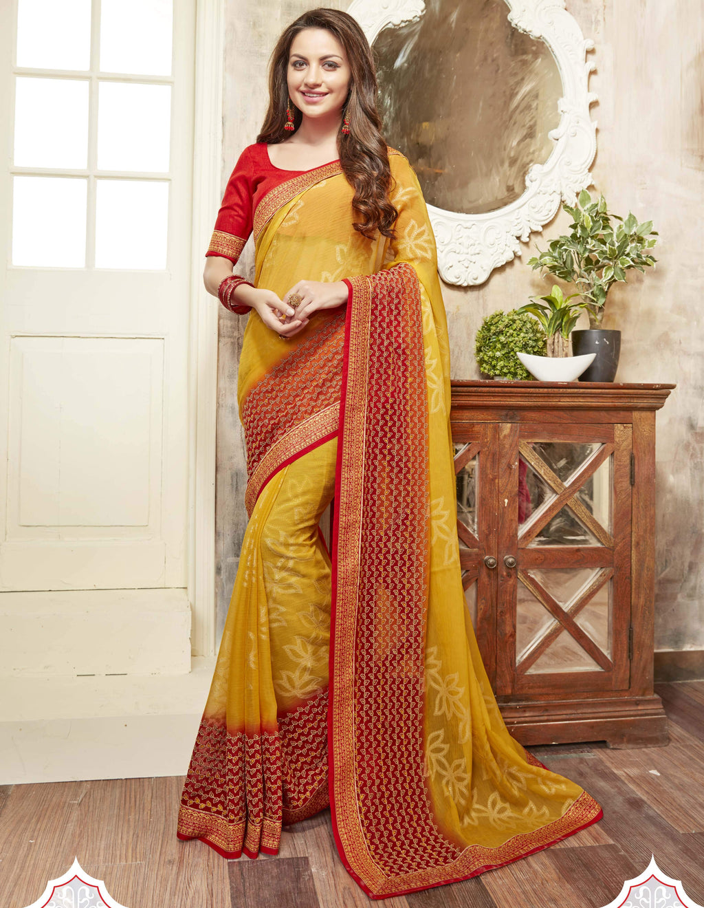Yellow & Red Color Wrinkle Chiffon Brasso Designer Function Wear Sarees : Gaurika Collection  NYF-1364 - YellowFashion.in