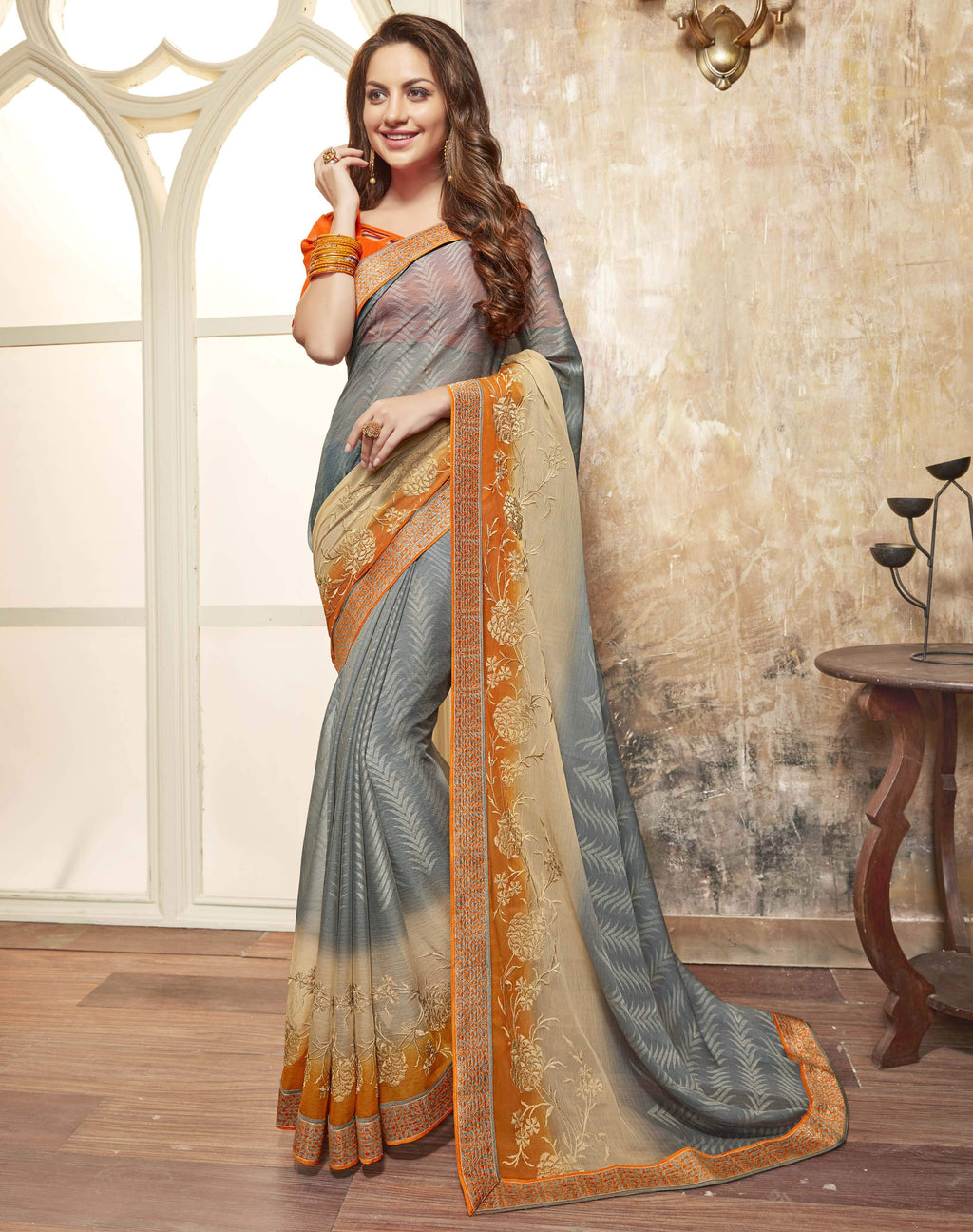 Grey Color Wrinkle Chiffon Brasso Designer Function Wear Sarees : Gaurika Collection  NYF-1365 - YellowFashion.in