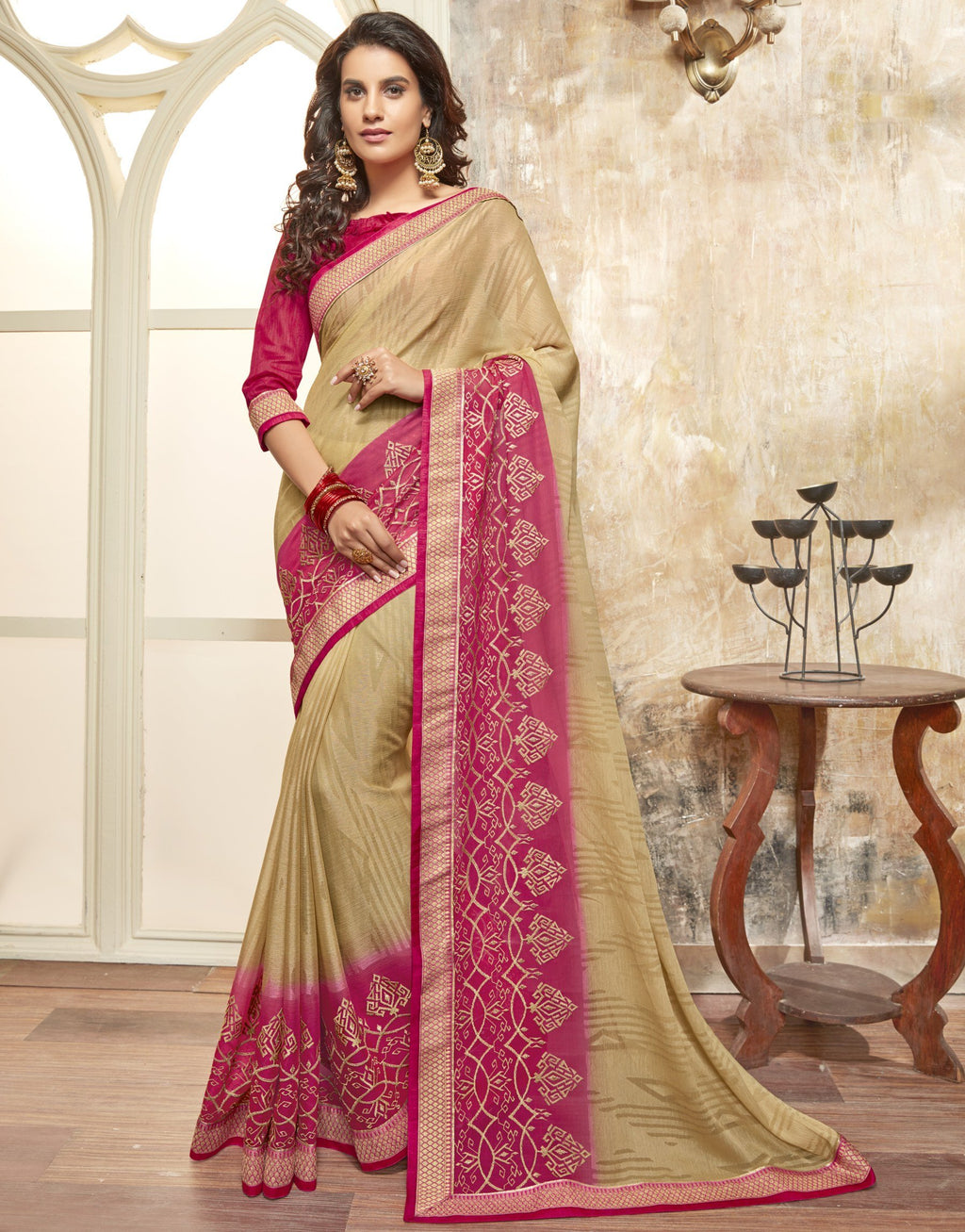 Light Coffee Color Wrinkle Chiffon Brasso Designer Function Wear Sarees : Gaurika Collection  NYF-1366 - YellowFashion.in