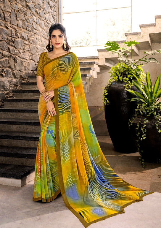 Multi Color Georgette Digital Print Kitty Party Wear Saree - Aadhya Collection YF#11128