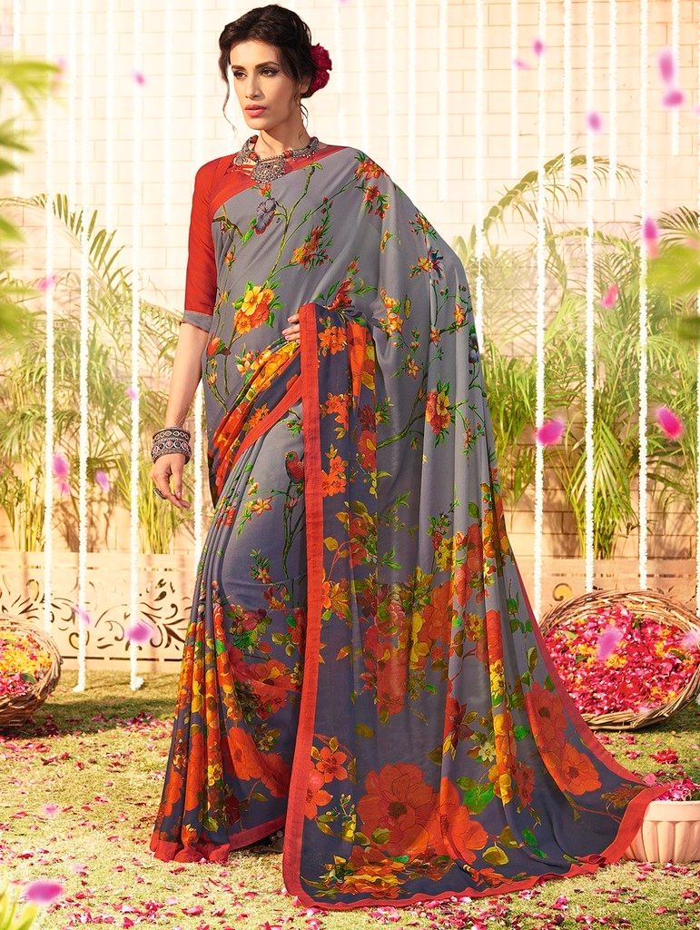 Grey Color Chiffon Designer Function Wear Sarees : Gaurika Collection  NYF-1369 - YellowFashion.in