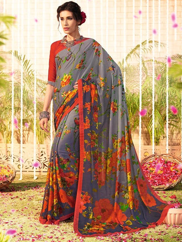 Grey Color Chiffon Designer Function Wear Sarees : Gaurika Collection  NYF-1369