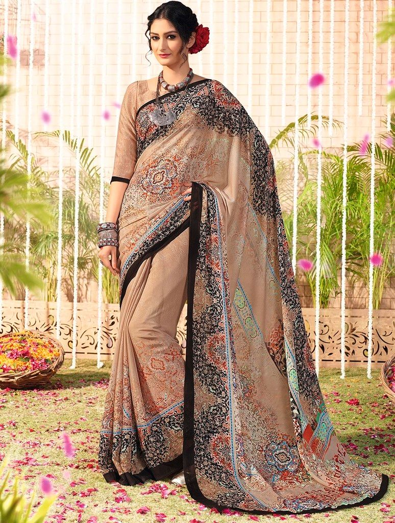 Beige Color Chiffon Designer Function Wear Sarees : Gaurika Collection  NYF-1370 - YellowFashion.in