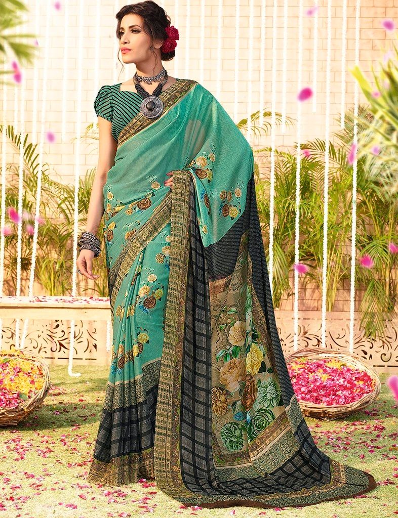 Rama Green Color Chiffon Designer Function Wear Sarees : Gaurika Collection  NYF-1371 - YellowFashion.in
