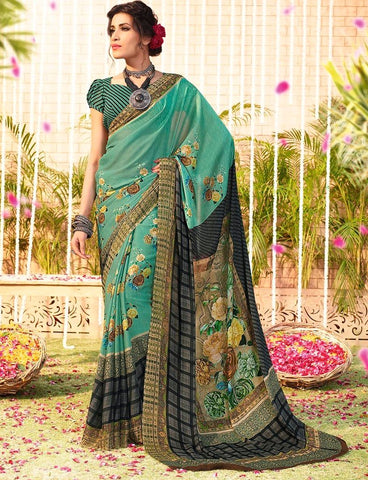 Rama Green Color Chiffon Designer Function Wear Sarees : Gaurika Collection  NYF-1371