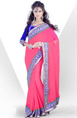 Pink  Colour  Georgette  Material Casual Sarees : Karishma Collection -  YF-12139